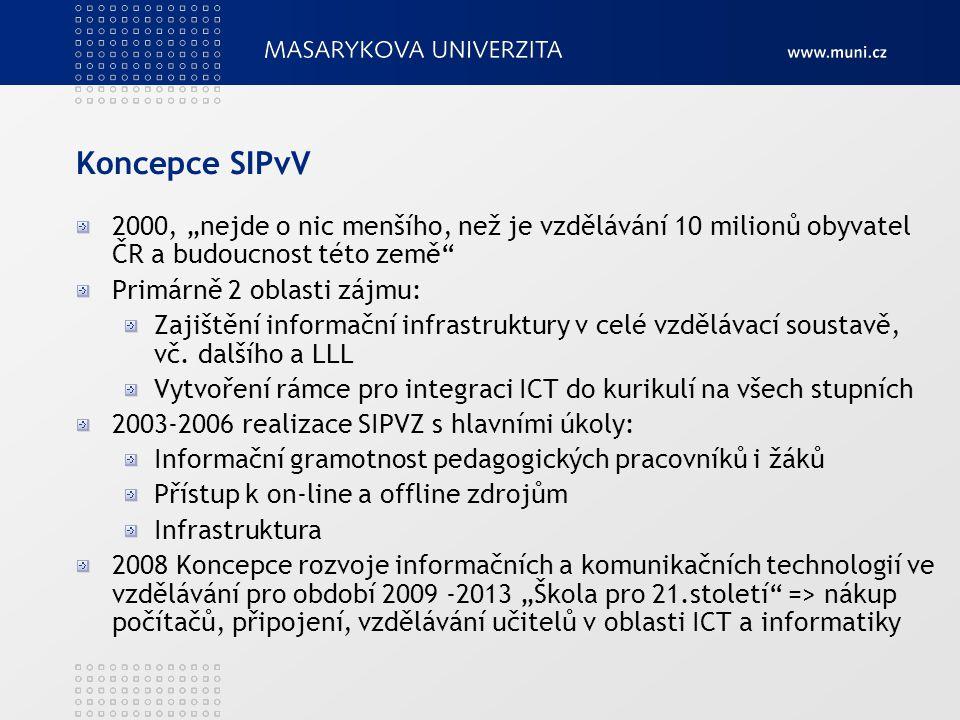 Koncepce SIPvV Připojování škol k internetu, PIK + vybavenost institucí ICT, IZ a vzdělávacím SW IG, integrace ICT do výuky Metodici ICT na školách LLL (pedagogové, knihovníci...) Všechny stupně a typy vzdělávání, vč.