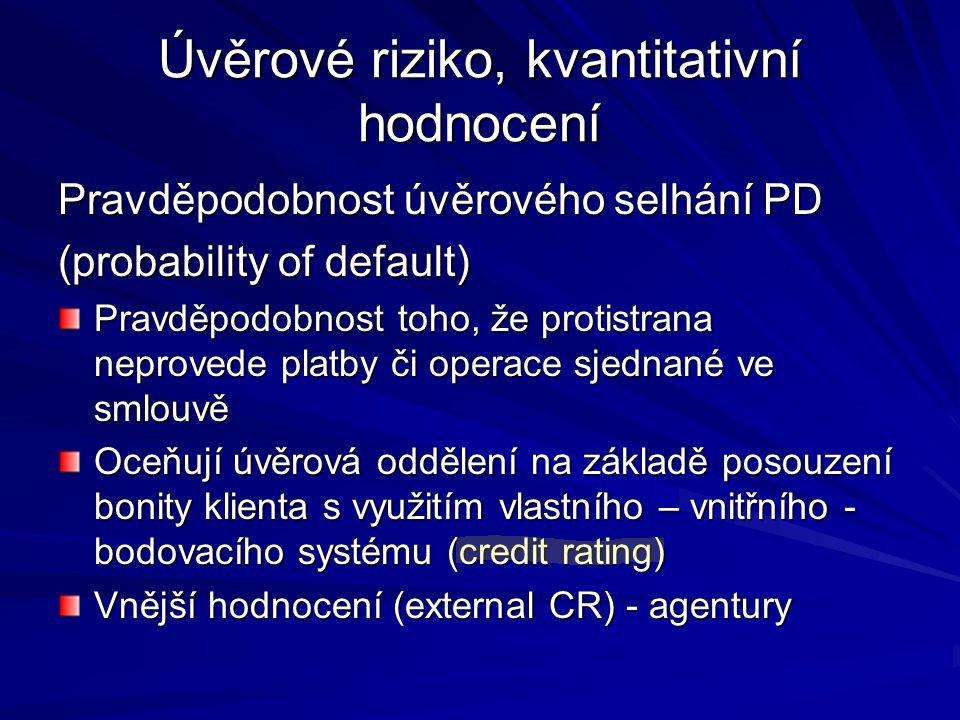 Úvěrové riziko, kvantitativní hodnocení Pravděpodobnost úvěrového selhání PD (probability of default) Pravděpodobnost toho, že protistrana neprovede p