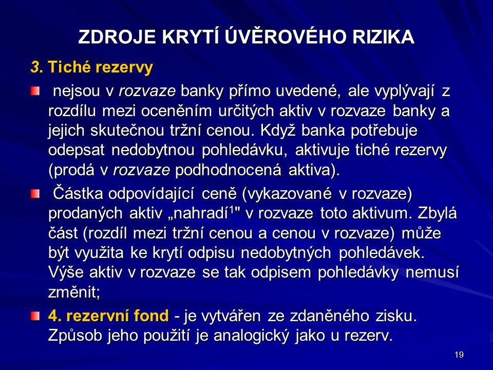 ZDROJE KRYTÍ ÚVĚROVÉHO RIZIKA 3. Tiché rezervy nejsou v rozvaze banky přímo uvedené, ale vyplývají z rozdílu mezi oceněním určitých aktiv v rozvaze ba