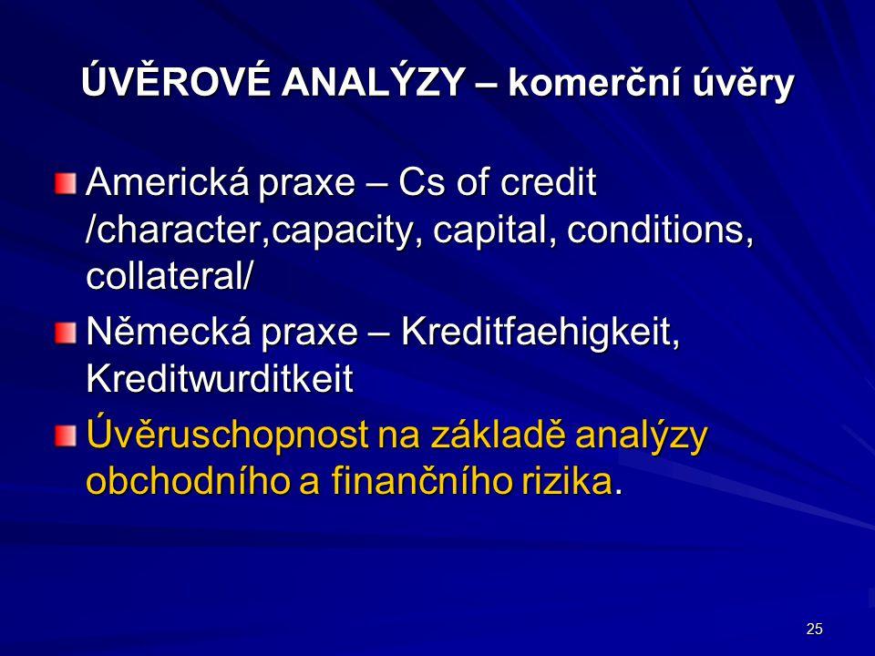 ÚVĚROVÉ ANALÝZY – komerční úvěry Americká praxe – Cs of credit /character,capacity, capital, conditions, collateral/ Německá praxe – Kreditfaehigkeit,