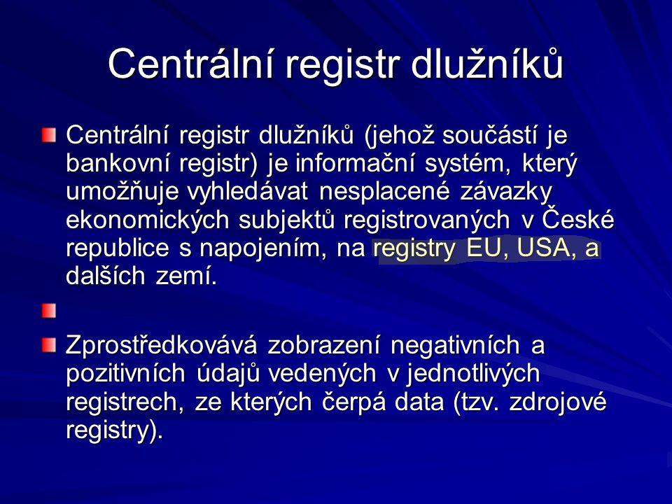 Centrální registr dlužníků Centrální registr dlužníků (jehož součástí je bankovní registr) je informační systém, který umožňuje vyhledávat nesplacené