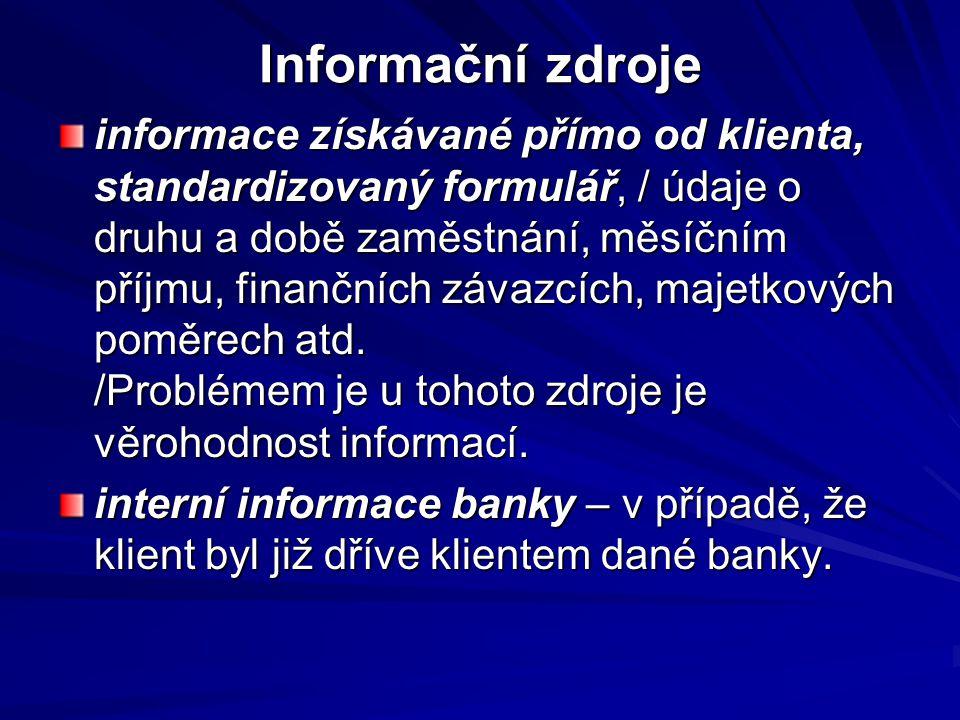 Informační zdroje informace získávané přímo od klienta, standardizovaný formulář, / údaje o druhu a době zaměstnání, měsíčním příjmu, finančních závaz