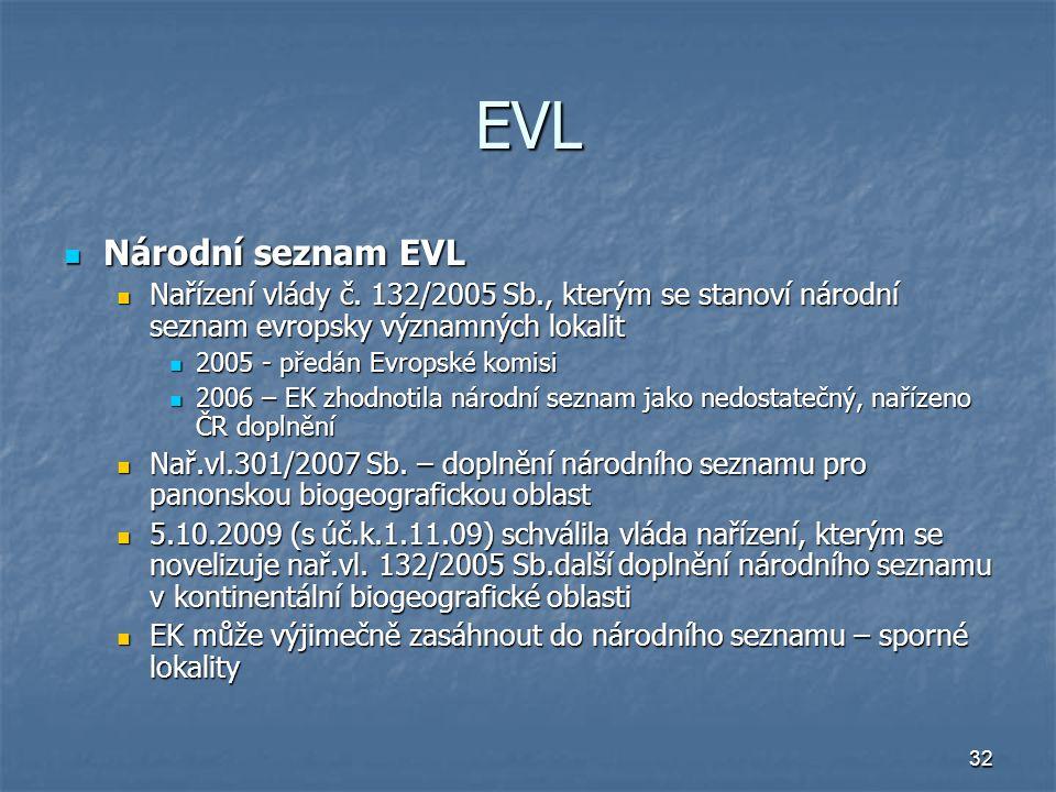 32 EVL Národní seznam EVL Národní seznam EVL Nařízení vlády č.