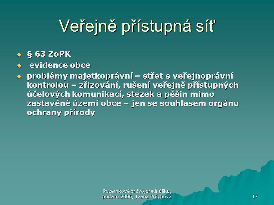 Pozemkové právo,přednáška, podzim 2006, Ivana Průchová 17 Veřejně přístupná síť  § 63 ZoPK  evidence obce  problémy majetkoprávní – střet s veřejno