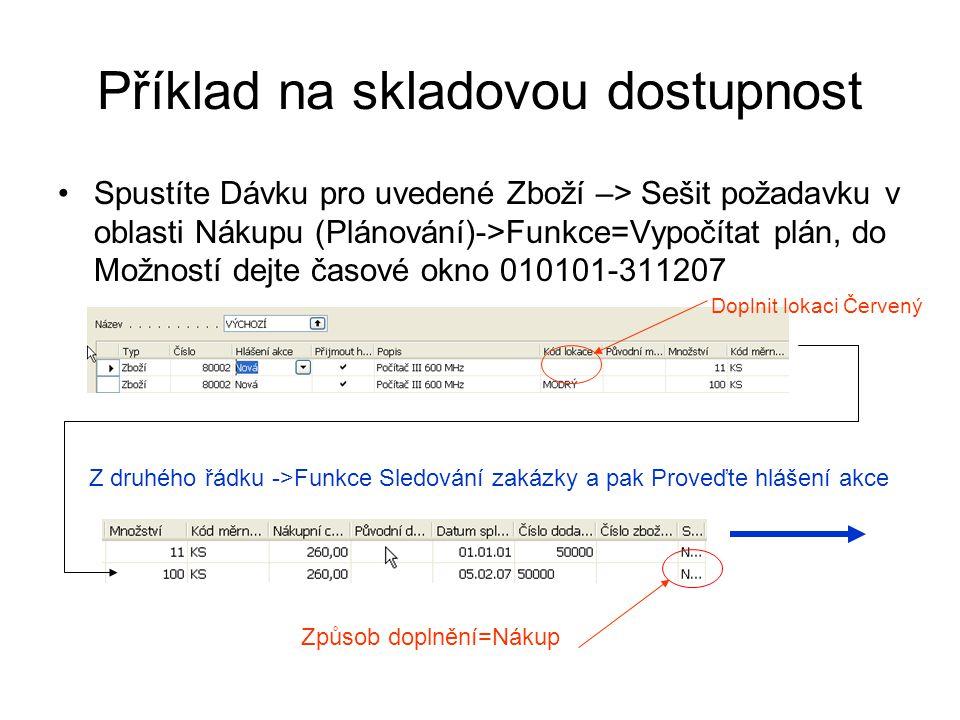 Příklad na skladovou dostupnost Spustíte Dávku pro uvedené Zboží –> Sešit požadavku v oblasti Nákupu (Plánování)->Funkce=Vypočítat plán, do Možností d