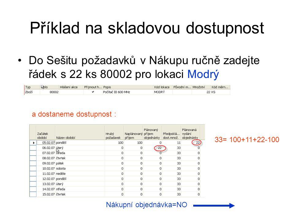 Příklad na skladovou dostupnost Do Sešitu požadavků v Nákupu ručně zadejte řádek s 22 ks 80002 pro lokaci Modrý a dostaneme dostupnost : 33= 100+11+22
