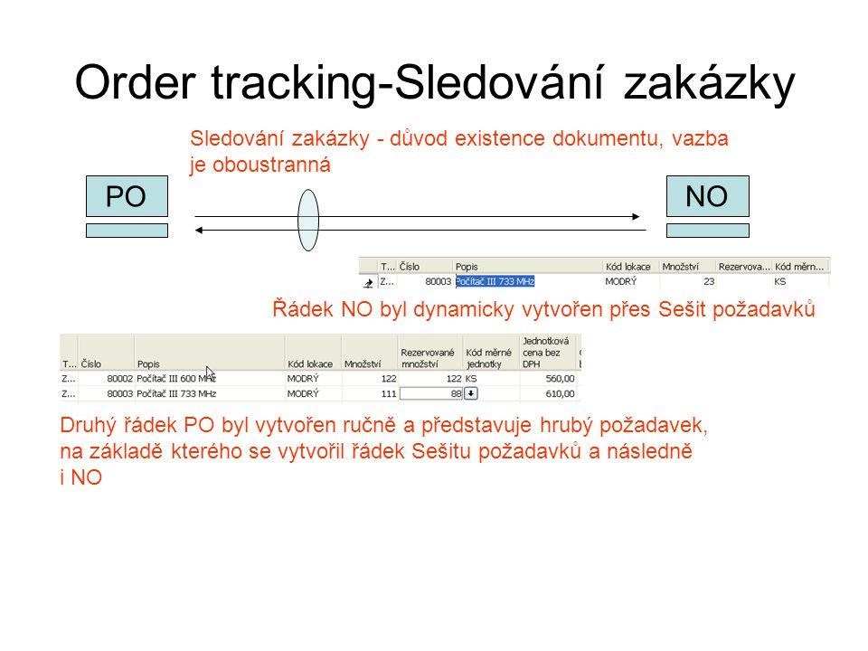 Order tracking-Sledování zakázky NO PO Řádek NO byl dynamicky vytvořen přes Sešit požadavků Druhý řádek PO byl vytvořen ručně a představuje hrubý poža