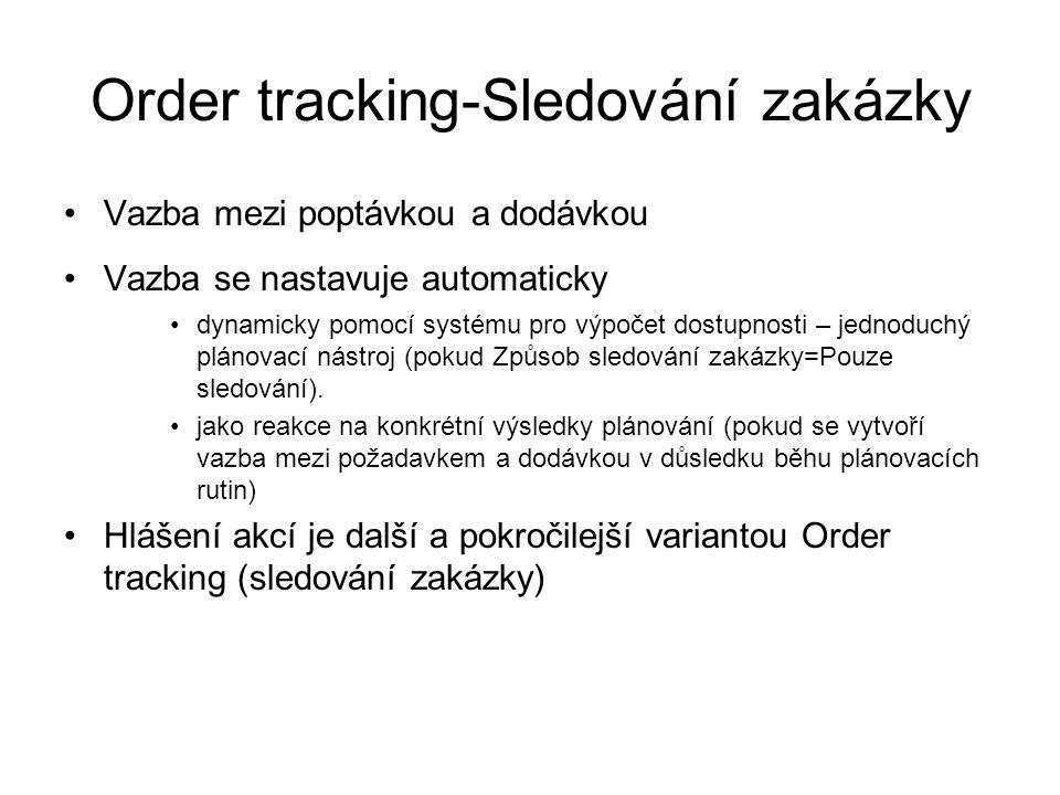 Order tracking-Sledování zakázky Vazba mezi poptávkou a dodávkou Vazba se nastavuje automaticky dynamicky pomocí systému pro výpočet dostupnosti – jed