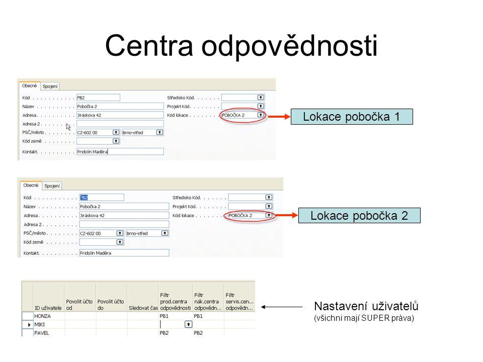 Centra odpovědnosti Lokace pobočka 1 Lokace pobočka 2 Nastavení uživatelů (všichni mají SUPER práva)