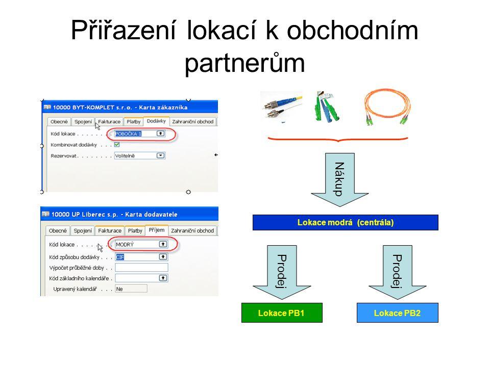 Přiřazení lokací k obchodním partnerům Nákup Lokace modrá (centrála) Prodej Lokace PB1 Prodej Lokace PB2