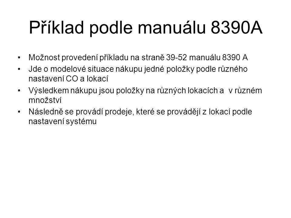 Příklad podle manuálu 8390A Možnost provedení příkladu na straně 39-52 manuálu 8390 A Jde o modelové situace nákupu jedné položky podle různého nastav