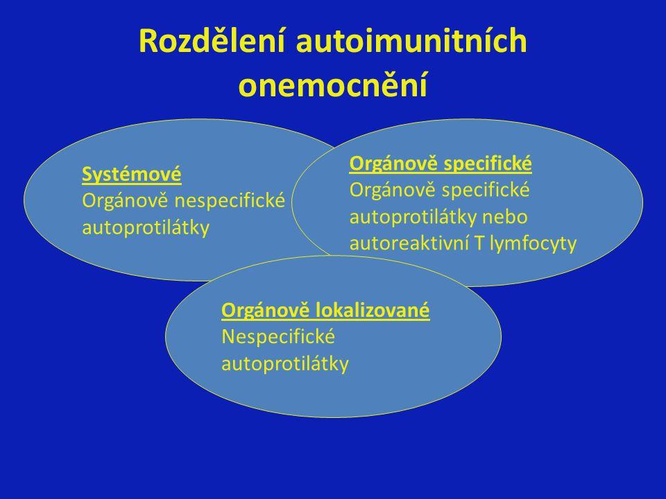Rozdělení autoimunitních onemocnění Systémové Orgánově nespecifické autoprotilátky Orgánově specifické autoprotilátky nebo autoreaktivní T lymfocyty Orgánově lokalizované Nespecifické autoprotilátky