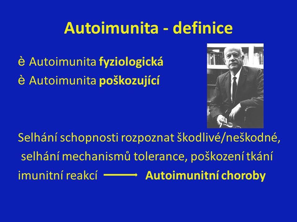 Autoimunita - definice èAutoimunita fyziologická èAutoimunita poškozující Selhání schopnosti rozpoznat škodlivé/neškodné, selhání mechanismů tolerance, poškození tkání imunitní reakcí Autoimunitní choroby