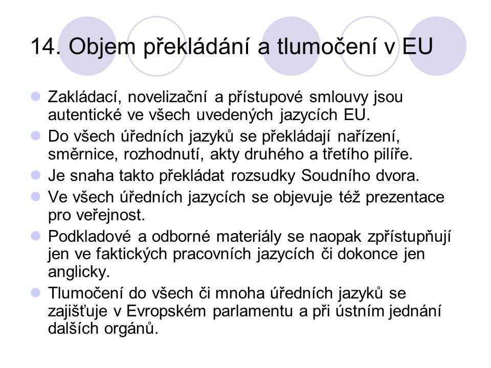 14. Objem překládání a tlumočení v EU Zakládací, novelizační a přístupové smlouvy jsou autentické ve všech uvedených jazycích EU. Do všech úředních ja