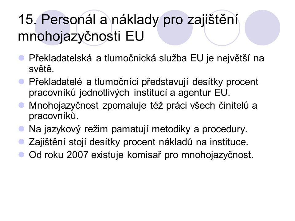 15. Personál a náklady pro zajištění mnohojazyčnosti EU Překladatelská a tlumočnická služba EU je největší na světě. Překladatelé a tlumočníci předsta