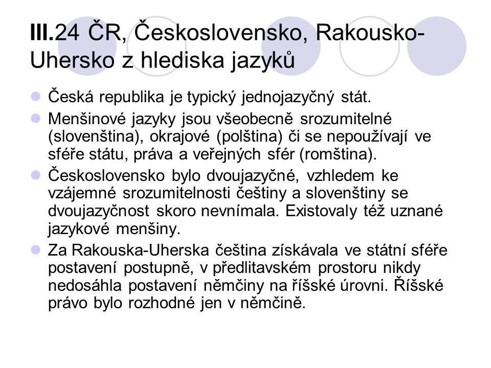 III.24 ČR, Československo, Rakousko- Uhersko z hlediska jazyků Česká republika je typický jednojazyčný stát. Menšinové jazyky jsou všeobecně srozumite
