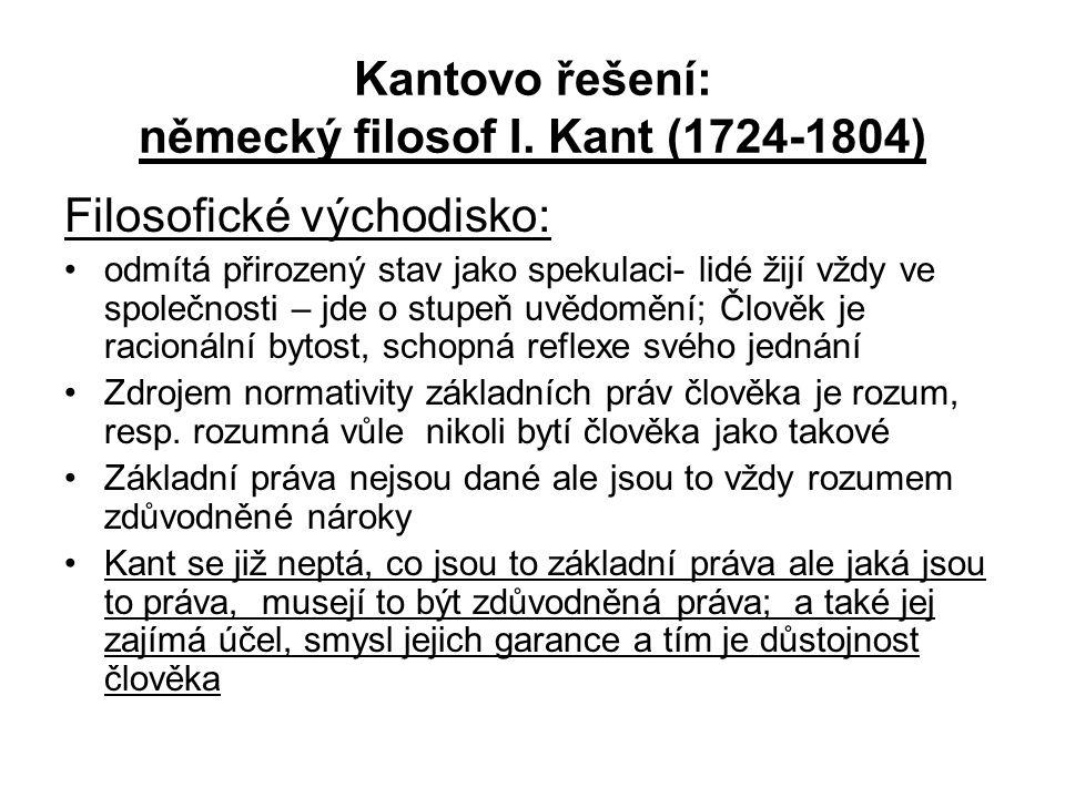 Kantovo řešení: německý filosof I. Kant (1724-1804) Filosofické východisko: odmítá přirozený stav jako spekulaci- lidé žijí vždy ve společnosti – jde