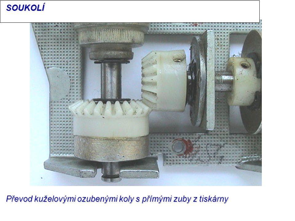 Převod kuželovými ozubenými koly s přímými zuby z tiskárny SOUKOLÍ