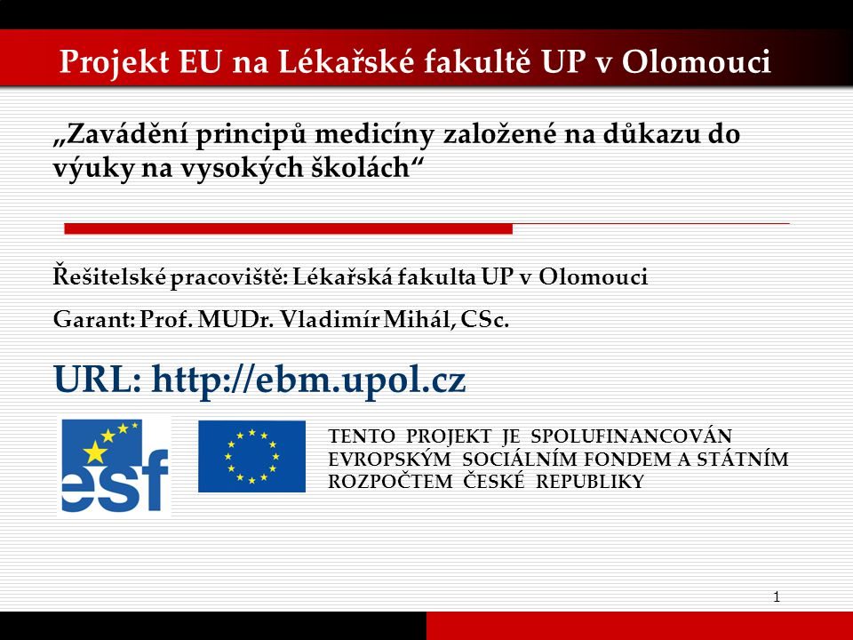 32 Závěry a zkušenosti  EBM a vzdělávací proces  EBM v nemocniční péči  EBM a Evropská unie