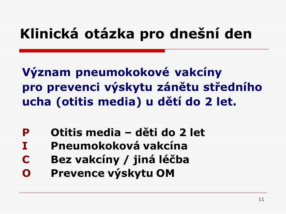 11 Klinická otázka pro dnešní den Význam pneumokokové vakcíny pro prevenci výskytu zánětu středního ucha (otitis media) u dětí do 2 let.