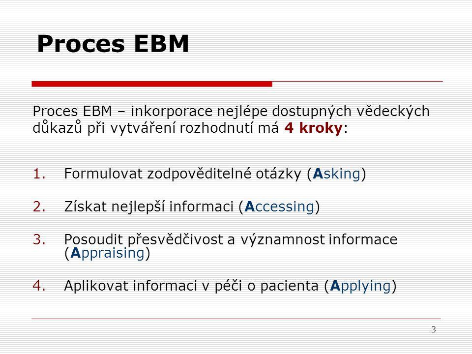 3 Proces EBM Proces EBM – inkorporace nejlépe dostupných vědeckých důkazů při vytváření rozhodnutí má 4 kroky: 1.Formulovat zodpověditelné otázky (Asking) 2.Získat nejlepší informaci (Accessing) 3.Posoudit přesvědčivost a významnost informace (Appraising) 4.Aplikovat informaci v péči o pacienta (Applying)