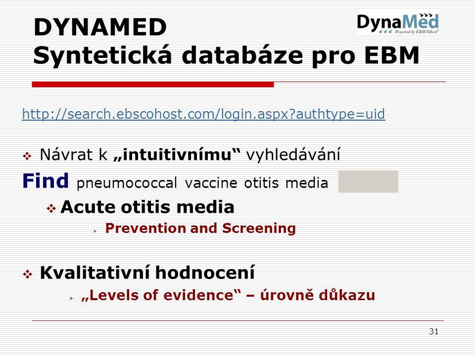"""31 DYNAMED Syntetická databáze pro EBM http://search.ebscohost.com/login.aspx authtype=uid  Návrat k """"intuitivnímu vyhledávání Find pneumococcal vaccine otitis media  Acute otitis media  Prevention and Screening  Kvalitativní hodnocení  """"Levels of evidence – úrovně důkazu"""