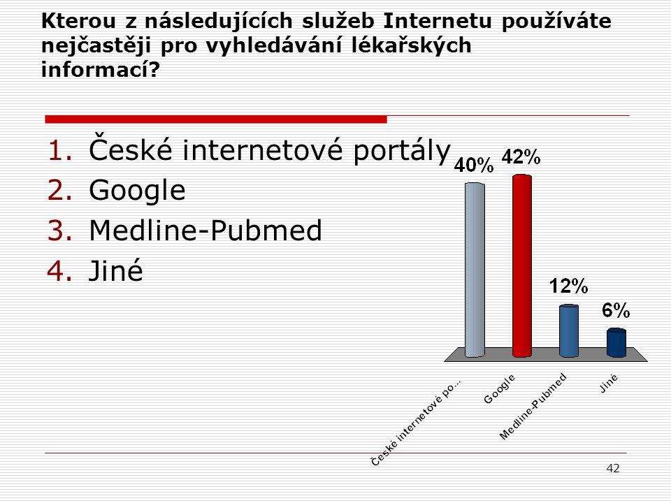 42 Kterou z následujících služeb Internetu používáte nejčastěji pro vyhledávání lékařských informací.