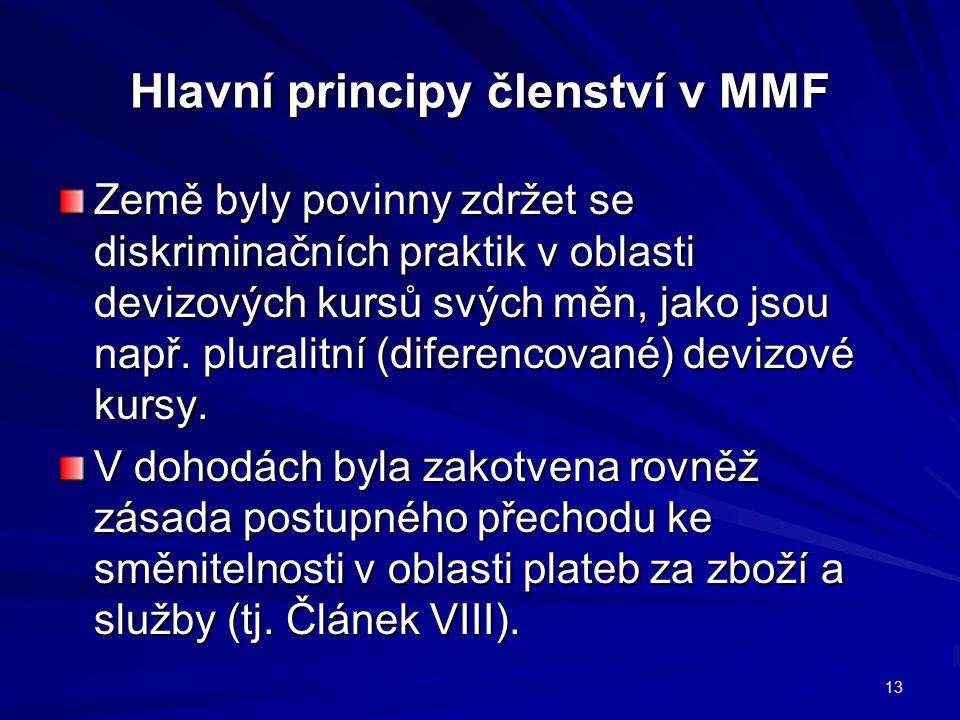 Hlavní principy členství v MMF Země byly povinny zdržet se diskriminačních praktik v oblasti devizových kursů svých měn, jako jsou např. pluralitní (d