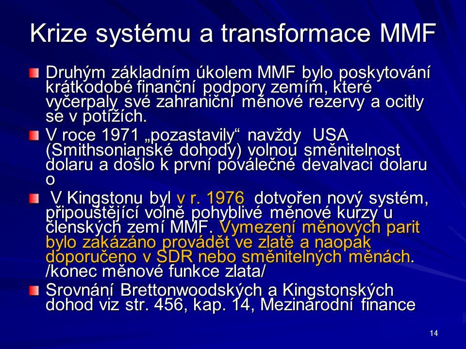 Krize systému a transformace MMF Druhým základním úkolem MMF bylo poskytování krátkodobé finanční podpory zemím, které vyčerpaly své zahraniční měnové