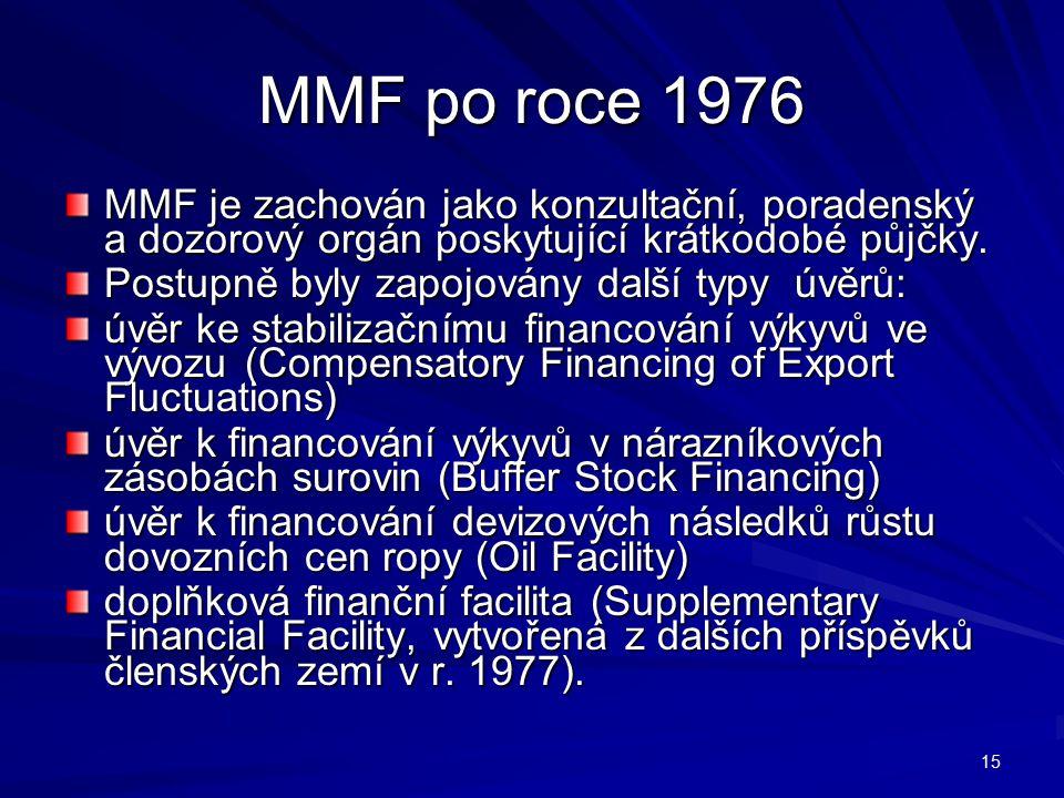 MMF po roce 1976 MMF je zachován jako konzultační, poradenský a dozorový orgán poskytující krátkodobé půjčky. Postupně byly zapojovány další typy úvěr