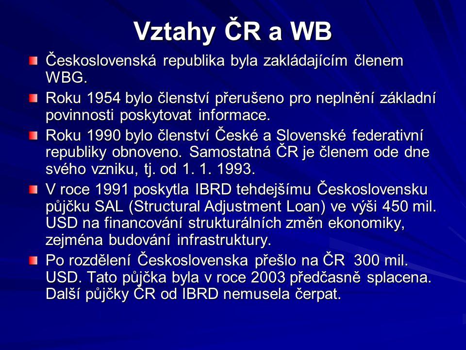 Vztahy ČR a WB Československá republika byla zakládajícím členem WBG. Roku 1954 bylo členství přerušeno pro neplnění základní povinnosti poskytovat in