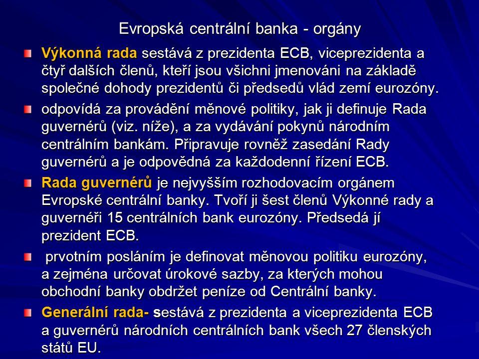 Evropská centrální banka - orgány Výkonná rada sestává z prezidenta ECB, viceprezidenta a čtyř dalších členů, kteří jsou všichni jmenováni na základě