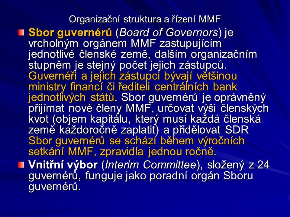 Organizační struktura a řízení MMF Sbor guvernérů (Board of Governors) je vrcholným orgánem MMF zastupujícím jednotlivé členské země, dalším organizač