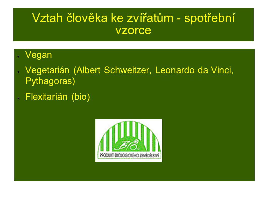 Vztah člověka ke zvířatům - spotřební vzorce ● Vegan ● Vegetarián (Albert Schweitzer, Leonardo da Vinci, Pythagoras) ● Flexitarián (bio)
