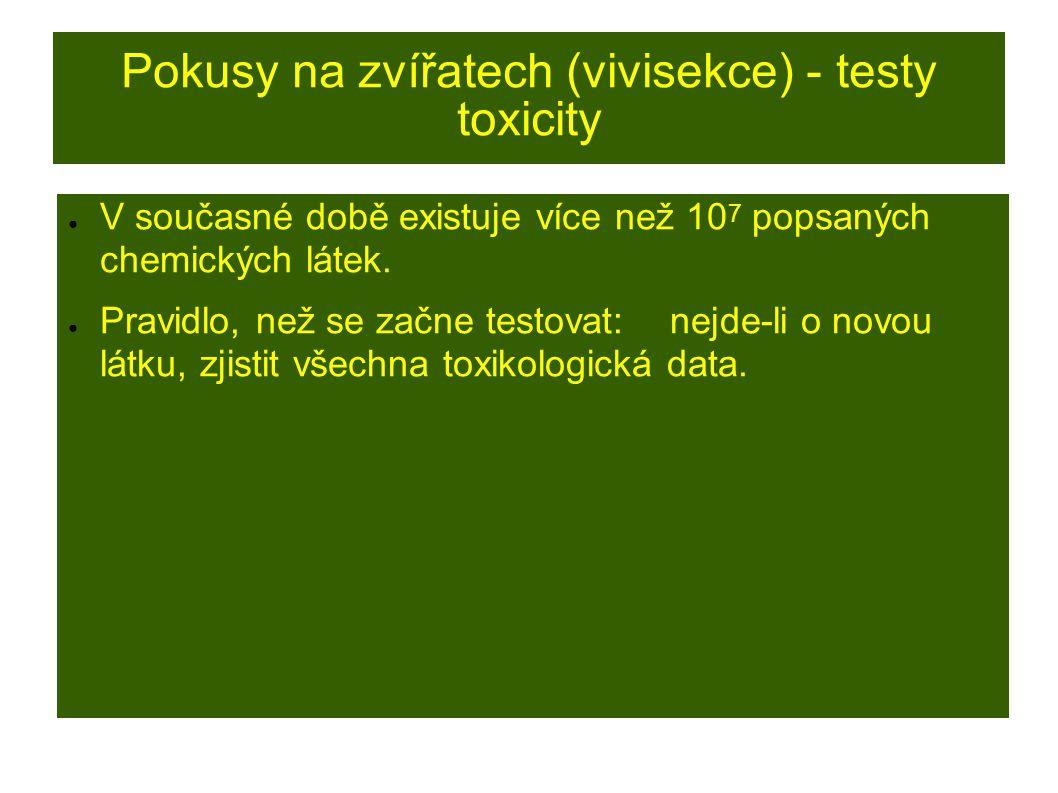 Pokusy na zvířatech (vivisekce) - testy toxicity ● V současné době existuje více než 10 7 popsaných chemických látek.