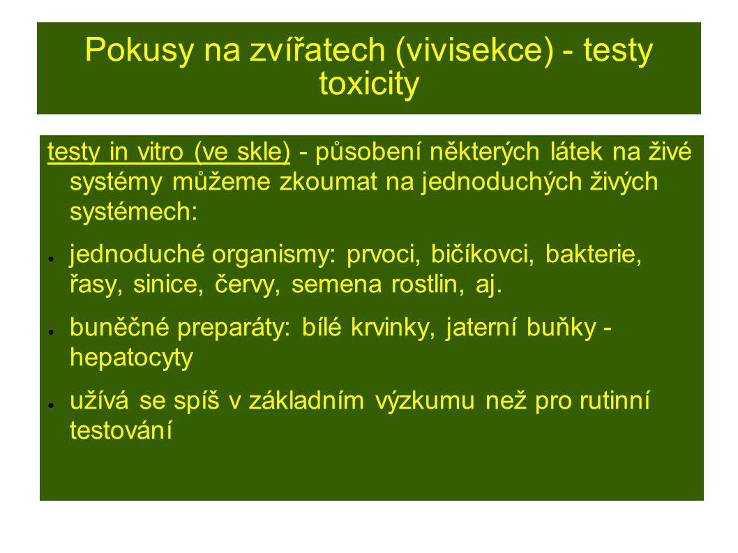 Pokusy na zvířatech (vivisekce) - testy toxicity testy in vitro (ve skle) - působení některých látek na živé systémy můžeme zkoumat na jednoduchých živých systémech: ● jednoduché organismy: prvoci, bičíkovci, bakterie, řasy, sinice, červy, semena rostlin, aj.