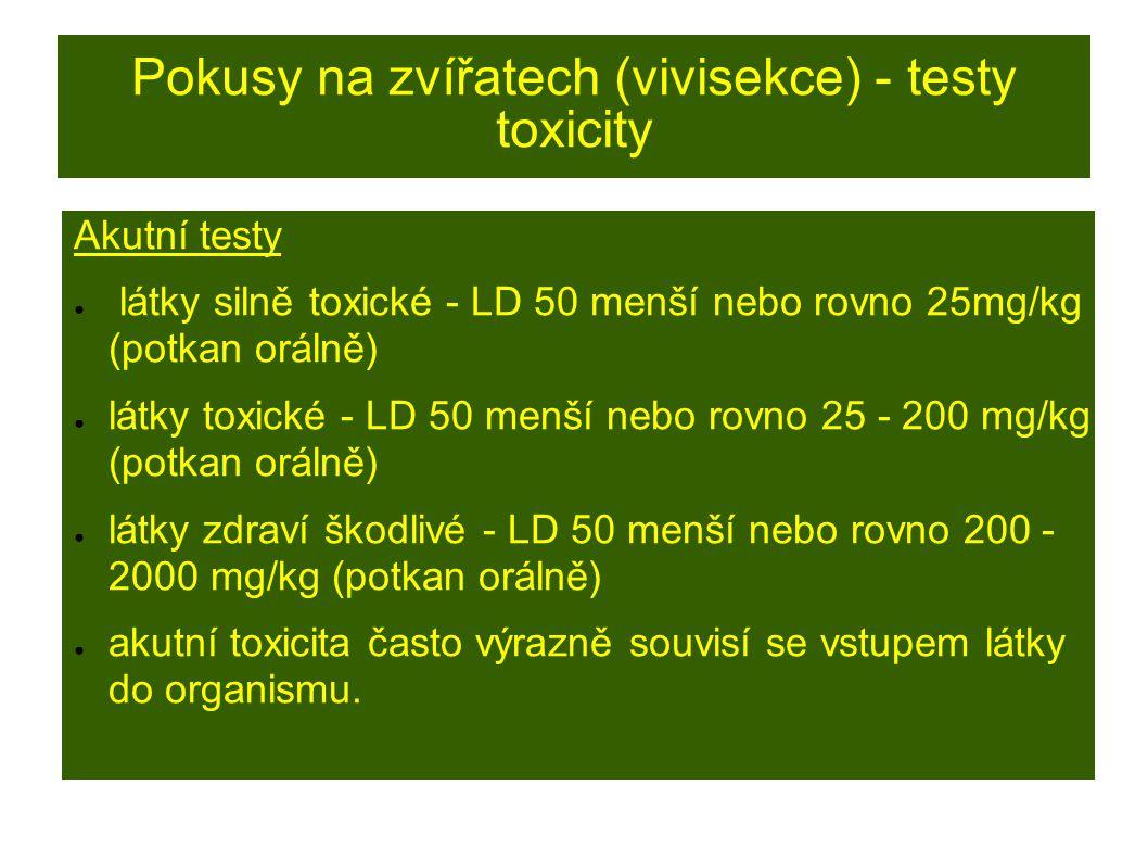 Pokusy na zvířatech (vivisekce) - testy toxicity Akutní testy ● látky silně toxické - LD 50 menší nebo rovno 25mg/kg (potkan orálně) ● látky toxické - LD 50 menší nebo rovno 25 - 200 mg/kg (potkan orálně) ● látky zdraví škodlivé - LD 50 menší nebo rovno 200 - 2000 mg/kg (potkan orálně) ● akutní toxicita často výrazně souvisí se vstupem látky do organismu.