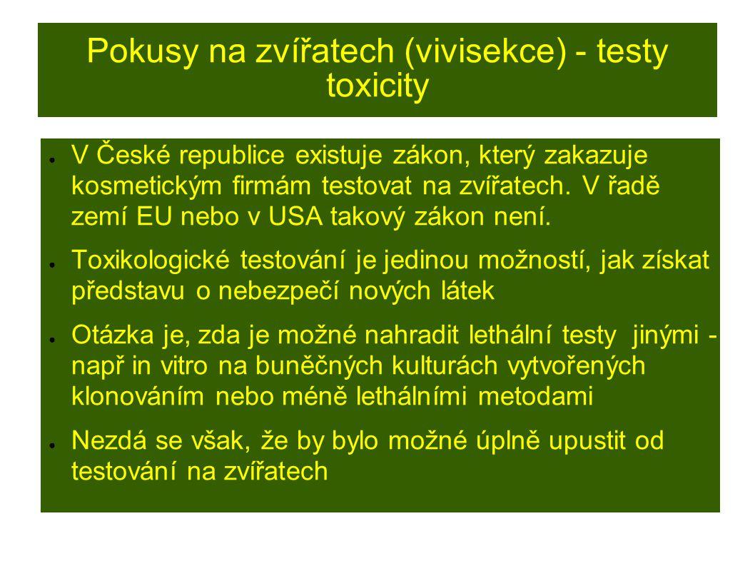 Pokusy na zvířatech (vivisekce) - testy toxicity ● V České republice existuje zákon, který zakazuje kosmetickým firmám testovat na zvířatech.