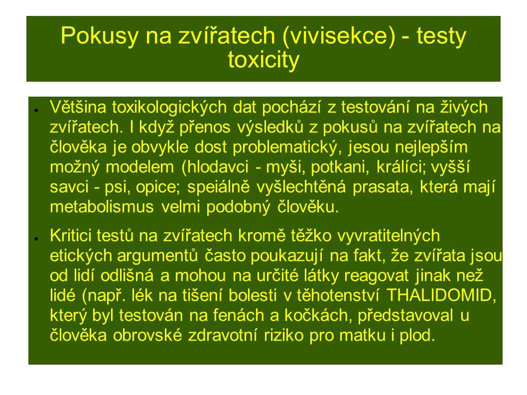 Pokusy na zvířatech (vivisekce) - testy toxicity ● Většina toxikologických dat pochází z testování na živých zvířatech.