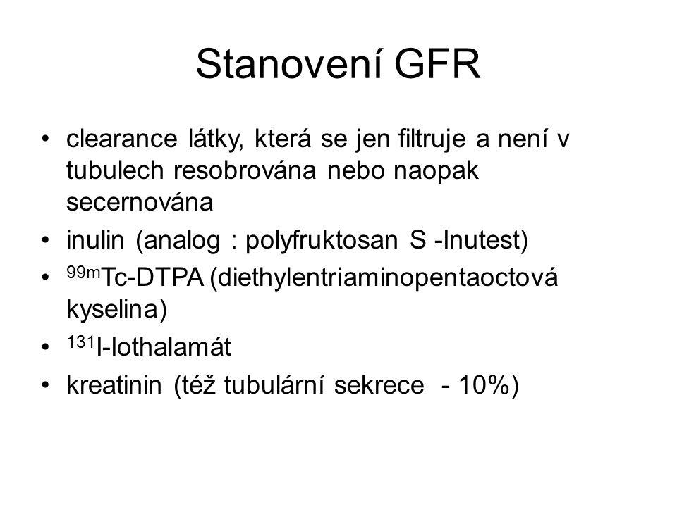 Stanovení GFR clearance látky, která se jen filtruje a není v tubulech resobrována nebo naopak secernována inulin (analog : polyfruktosan S -Inutest)