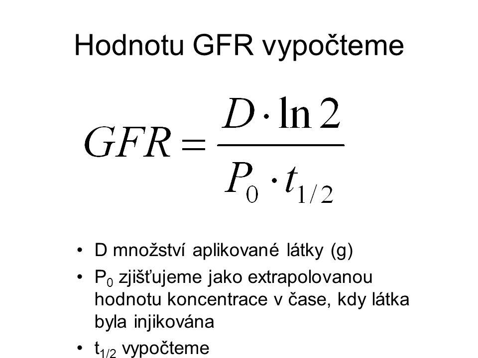 Hodnotu GFR vypočteme D množství aplikované látky (g) P 0 zjišťujeme jako extrapolovanou hodnotu koncentrace v čase, kdy látka byla injikována t 1/2 v