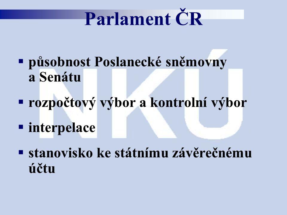  působnost Poslanecké sněmovny a Senátu  rozpočtový výbor a kontrolní výbor  interpelace  stanovisko ke státnímu závěrečnému účtu Parlament ČR