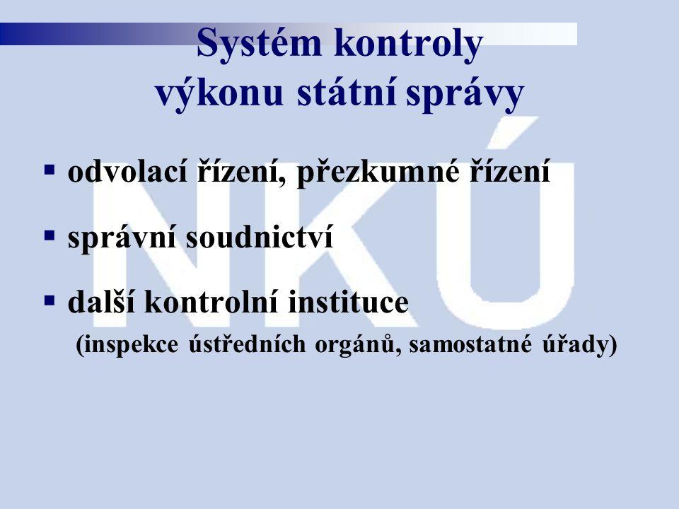  odvolací řízení, přezkumné řízení  správní soudnictví  další kontrolní instituce (inspekce ústředních orgánů, samostatné úřady) Systém kontroly vý