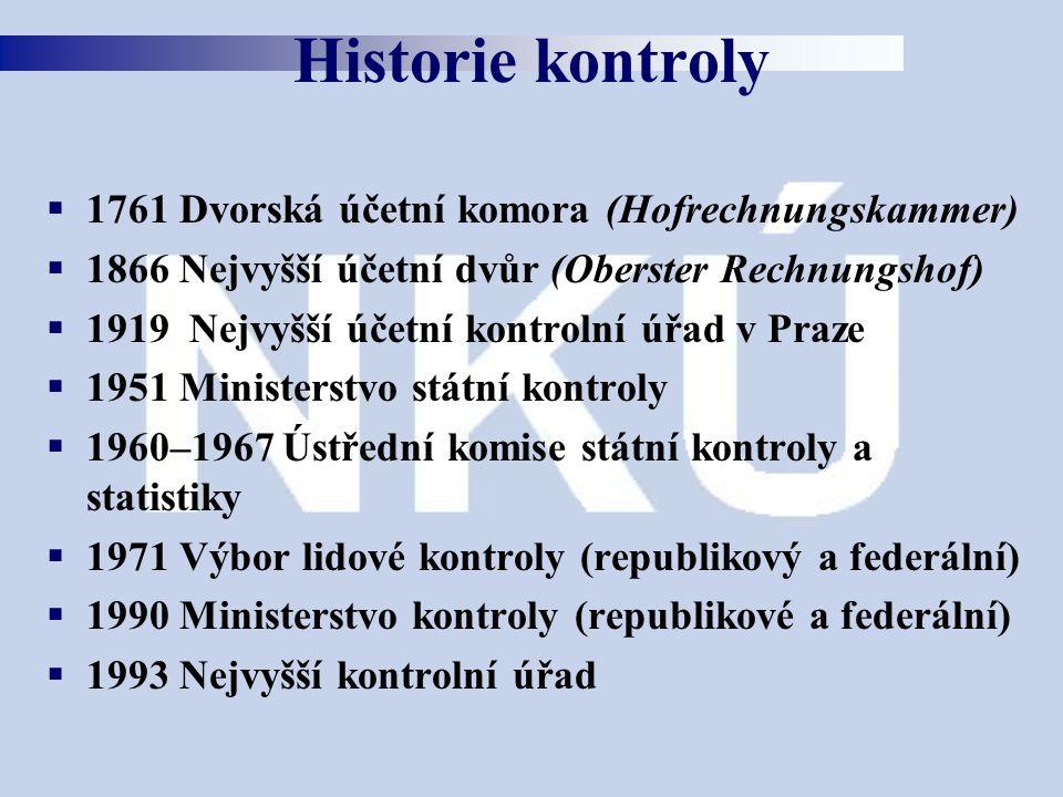  1761 Dvorská účetní komora (Hofrechnungskammer)  1866 Nejvyšší účetní dvůr (Oberster Rechnungshof)  1919 Nejvyšší účetní kontrolní úřad v Praze 