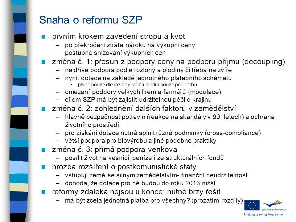 Snaha o reformu SZP prvním krokem zavedení stropů a kvót –po překročení ztráta nároku na výkupní ceny –postupné snižování výkupních cen změna č.