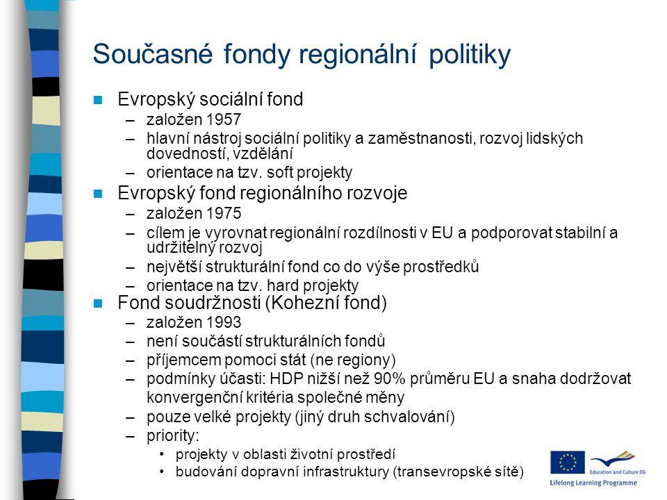 Současné fondy regionální politiky Evropský sociální fond –založen 1957 –hlavní nástroj sociální politiky a zaměstnanosti, rozvoj lidských dovedností, vzdělání –orientace na tzv.