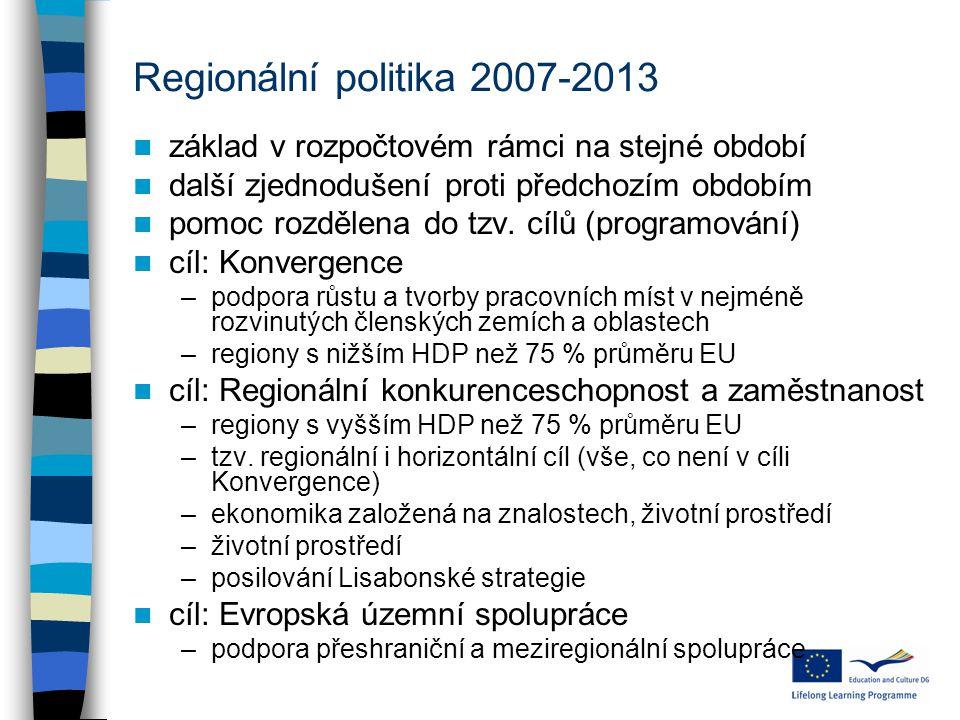 Regionální politika 2007-2013 základ v rozpočtovém rámci na stejné období další zjednodušení proti předchozím obdobím pomoc rozdělena do tzv.