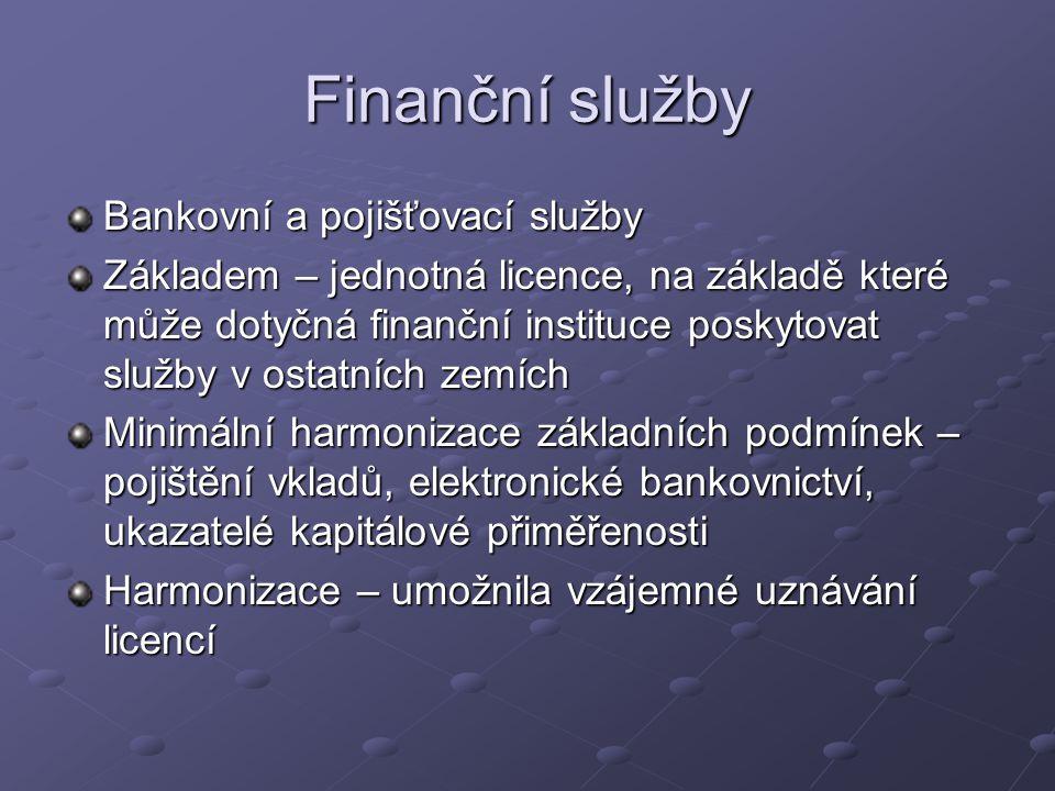 Finanční služby Bankovní a pojišťovací služby Základem – jednotná licence, na základě které může dotyčná finanční instituce poskytovat služby v ostatních zemích Minimální harmonizace základních podmínek – pojištění vkladů, elektronické bankovnictví, ukazatelé kapitálové přiměřenosti Harmonizace – umožnila vzájemné uznávání licencí