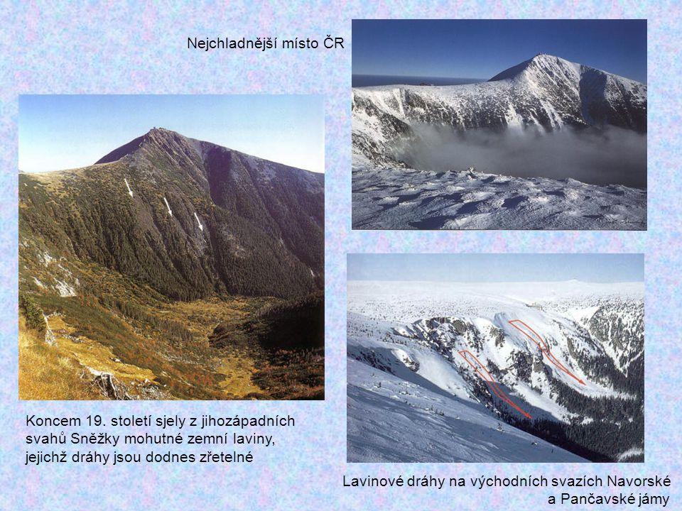Koncem 19. století sjely z jihozápadních svahů Sněžky mohutné zemní laviny, jejichž dráhy jsou dodnes zřetelné Nejchladnější místo ČR Lavinové dráhy n