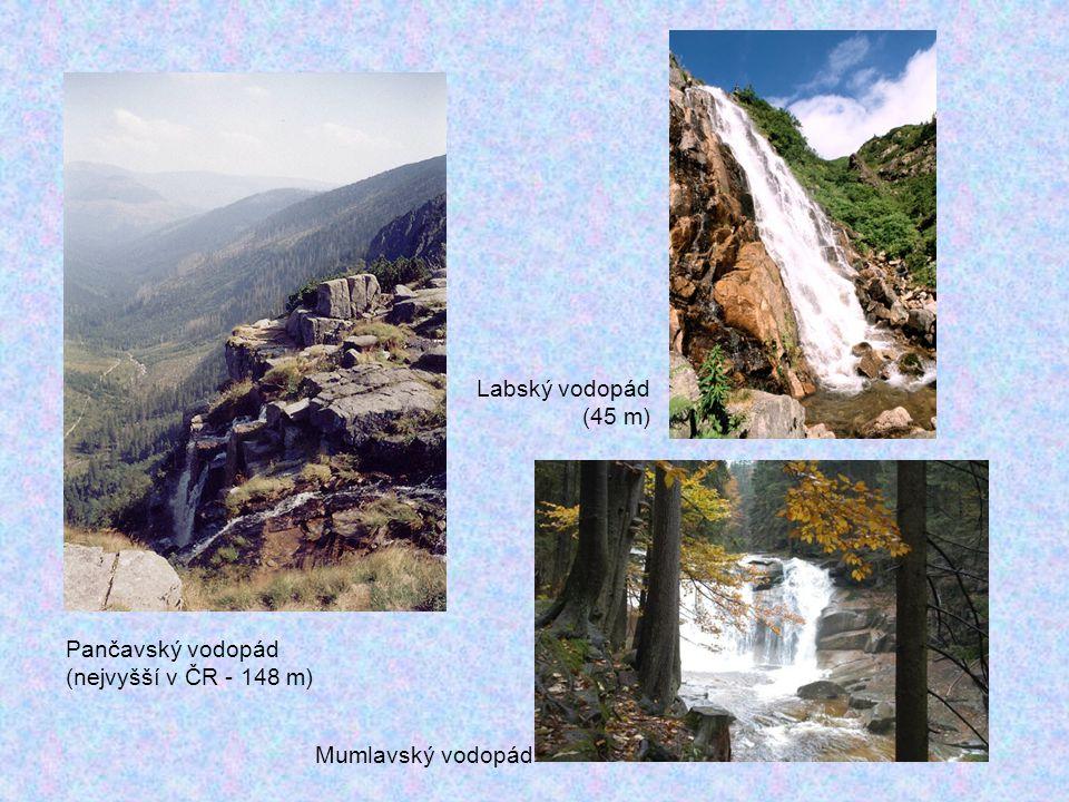 Pančavský vodopád (nejvyšší v ČR - 148 m) Labský vodopád (45 m) Mumlavský vodopád